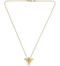 The Sneaker Studio Gold Micro Cherub Piece Necklace Model Picutre