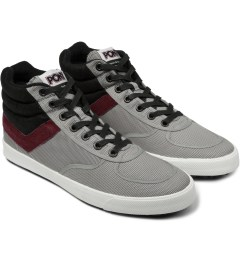 PONY Light Grey/Burgundy Slamdunk VULC Hi Sneakers Model Picutre