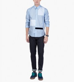 Casely Hayford Pale Blue/White/Navy Stanway Soft Collar Shirt Model Picutre
