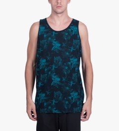HUF Jade/Navy Floral Tank Top Model Picutre