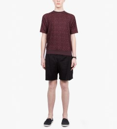 Paul Smith Pink Textured Jacquard Short Sleeve Sweatshirt Model Picutre