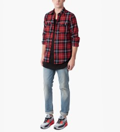 LES (ART)ISTS Red Pharrell 73 Flannel Shirt Model Picutre
