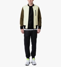 Christopher Raeburn Cream/Khaki Wool Bomber Jacket Model Picutre