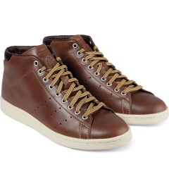 adidas Originals Brown MCN Stan Smith Mid 84-Lab Shoes Model Picutre