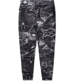 AURA GOLD Black Marble Print Allover Drop Crotch Pants Picutre
