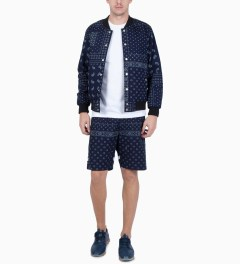 Liful Navy Paisley Camp Shorts Model Picutre