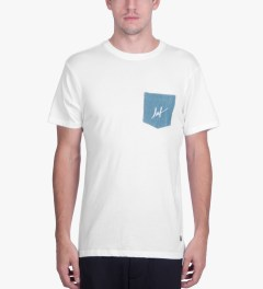 HUF White Script Denim Pocket T-Shirt Model Picutre