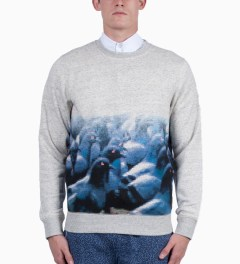Staple Heather Grey Pixel Pigeon Sweater Model Picutre