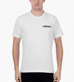 Carhartt WORK IN PROGRESS White/Black S/S College Script T-Shirt Model Picutre