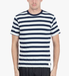 Head Porter Plus Navy Reversible Border T-Shirt Model Picutre