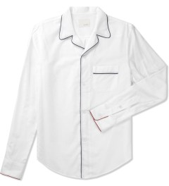 Band of Outsiders White Piped PJ L/S Shirt Picutre