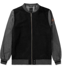 i love ugly. Black/Grey Wool Melton Bomber Jacket Picutre