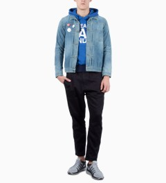 Mark McNairy for Heather Grey Wall Blue Sweat Parka Logo Sweater Model Picutre
