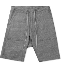 KNYEW Heather Grey Drop Crotch Fleece Shorts Picutre