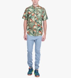 HUF Olive Birds of Paradise S/S Woven Shirt Model Picutre