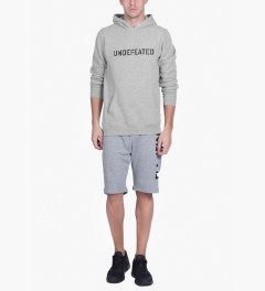 Undefeated Heather Grey Block Basic Hoodie Model Picutre