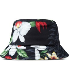 Liful Black Hawaiian Flower Bucket Hat Model Picutre