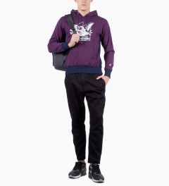 Mark McNairy for Heather Grey Wall Purple Sweat Parka Eagle Sweater Model Picutre