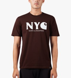 Carhartt WORK IN PROGRESS Bordeaux/White S/S New York T-Shirt Model Picutre
