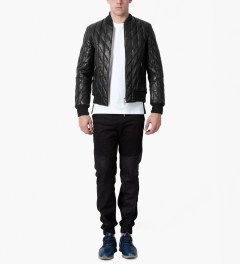 MKI BLACK Black High Grain Diamond Bomber Jacket Model Picutre