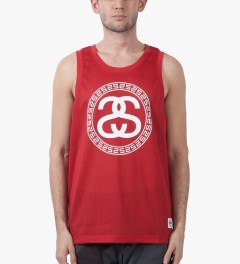 Stussy Red Mesh SS Tank Model Picutre
