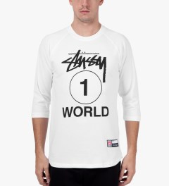 Stussy White One World Baseball T-Shirt Model Picutre