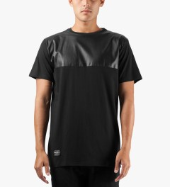 Grand Scheme Black Leather Trim T-Shirt Model Picutre