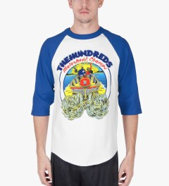 The Hundreds Royal/White Motorboat Baseball ¾ Sleeve T-Shirt Model Picutre