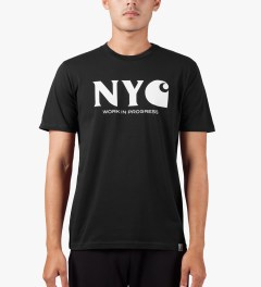 Carhartt WORK IN PROGRESS Black/White S/S New York T-Shirt Model Picutre