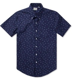 United Stock Dry Goods Navy Anchor Print S/S Button Down Shirt Picutre