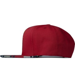 The Hundreds Red Adam Snapback Model Picutre