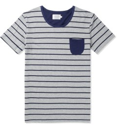 Shades of Grey by Micah Cohen Grey Navy Stripe/Navy Low Crewneck T-Shirt Picutre