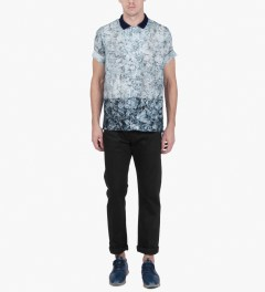 Casely Hayford Broken Ice Print Hawaii S/S Shirt W/ Open Rib Collar Model Picutre