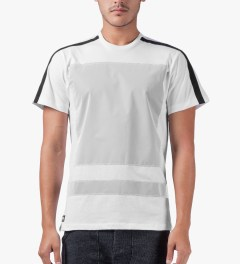 AMH White Reflective Block Panel T-Shirt Model Picutre