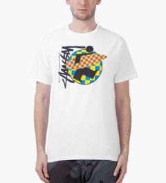 Stussy White Surfman Check T-Shirt Model Picutre