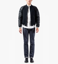 A.P.C. Dark Navy Teddy Kenickie Jacket Model Picutre
