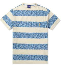 Lightning Bolt Azure Blue Mirror Bold Stripes Pocket T-Shirt Picutre