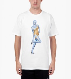 Stussy White Sorayama Swimsuit Robot T-Shirt Model Picutre