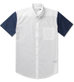 Raised by Wolves White/Navy Sleeves Morocco Blues Short Sleeve Shirt Picutre