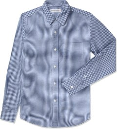 Head Porter Plus Blue Gingham L/S Check Shirt Picutre