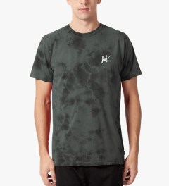 HUF Black Tonal Small Script Crystal Wash T-Shirt Model Picutre