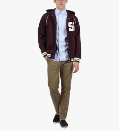 Stussy Maroon Hooded S Varsity Jacket Model Picutre