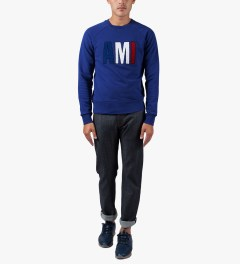 "ami Blue ""Friend"" Crewneck Sweatshirt Model Picutre"