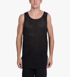 Publish Black Zhane Jersey Mesh Oversized Length Tank Top Model Picutre