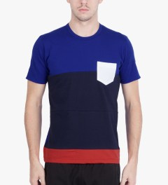Aloye Aloye x WONG WONG Blue/Navy Blue Japan Color Blocked S/S T-Shirt Model Picutre