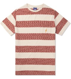 Lightning Bolt Pompeian Red Mirror Bold Stripes Pocket T-Shirt Picutre