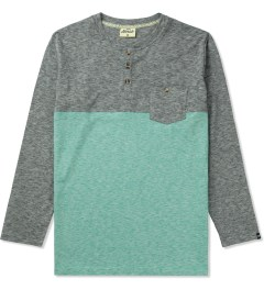 Jiberish Grey/Teal Split Henley L/S T-Shirt Picutre