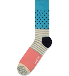 Happy Socks Light Blue/Pink Stripes and Dots Socks Picutre