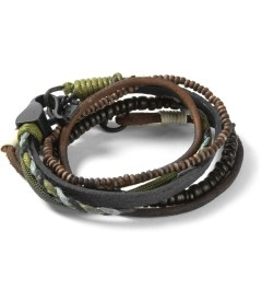 Icon Brand Black/Green Flat Leather Bracelet Picutre