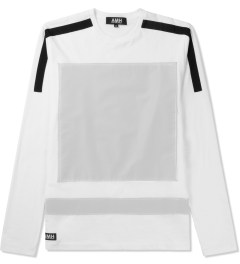 AMH White Reflective Block Panel L/S T-Shirt Picutre